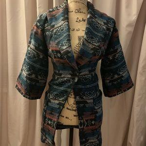 Printed single button coat in Size Medium